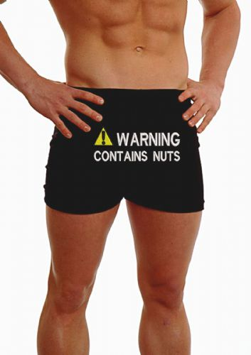 PERSONALISED MENS HIPSTER BOXER SHORTS - EMBROIDERED - ANY MESSAGE WARNING CONTAINS NUTS